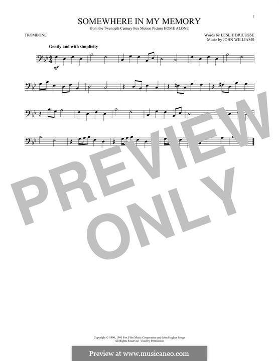 Somewhere in My Memory: For trombone by John Williams