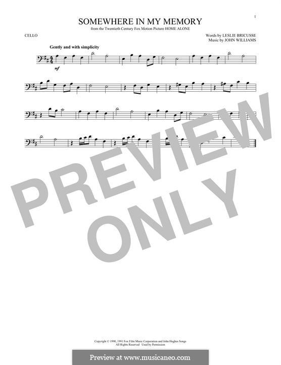 Somewhere in My Memory: Для виолончели by John Williams