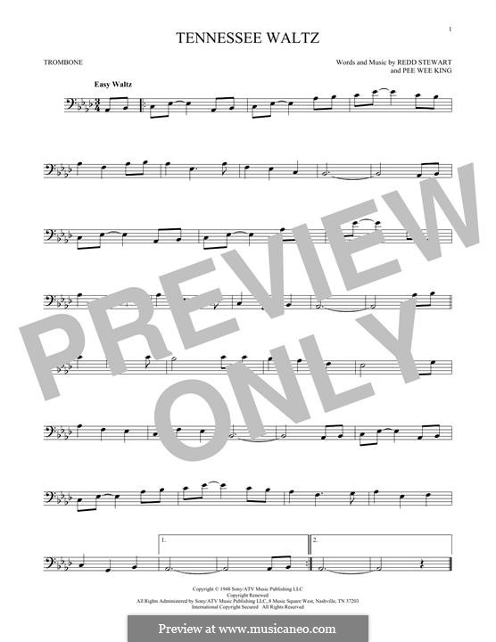Tennessee Waltz (Patty Page): For trombone by Pee Wee King, Redd Stewart