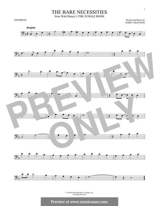 The Bare Necessities (from Disney's The Jungle Book): For trombone by Terry Gilkyson