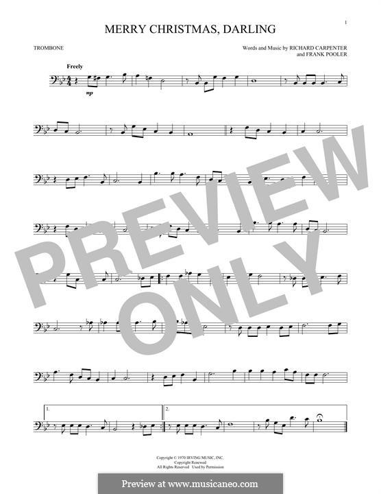 Merry Christmas, Darling (Carpenters): For trombone by Frank Pooler, Richard Carpenter