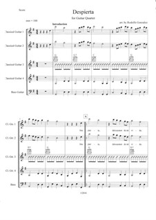 Despierta: For guitar quartet by folklore