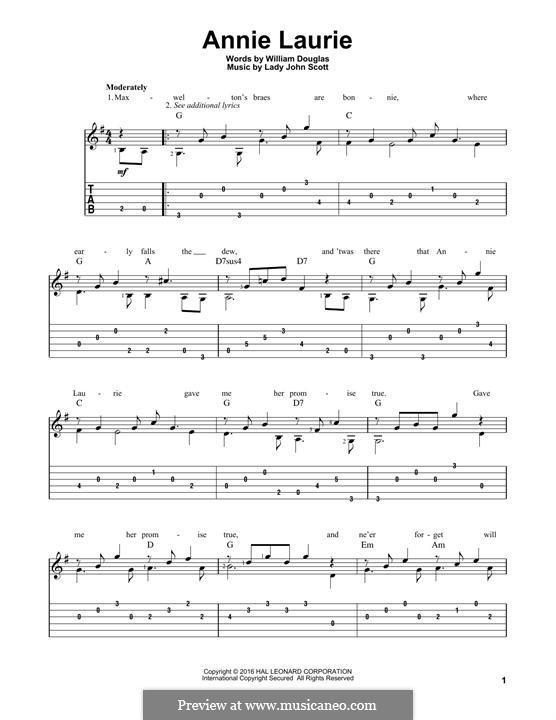 Annie Laurie: Гитарная табулатура by William Douglas