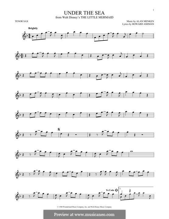 Under the Sea (from The Little Mermaid): Для тенорового саксофона by Alan Menken