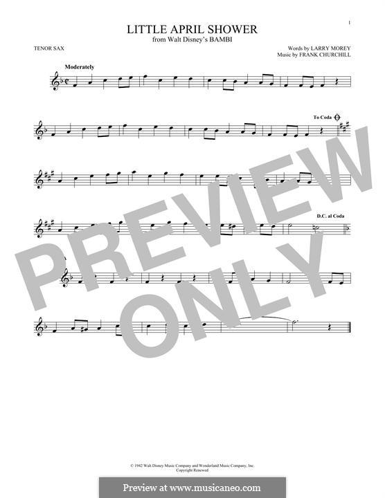 Little April Shower (from Bambi): Для тенорового саксофона by Frank Churchill