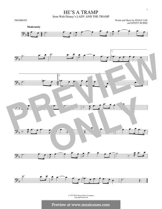 He's a Tramp: For trombone by Sonny Burke