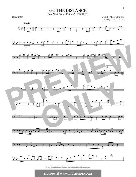 Go the Distance (from Hercules): For trombone by Alan Menken