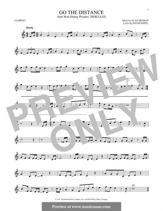 Go the Distance (from Hercules): Для кларнета by Alan Menken