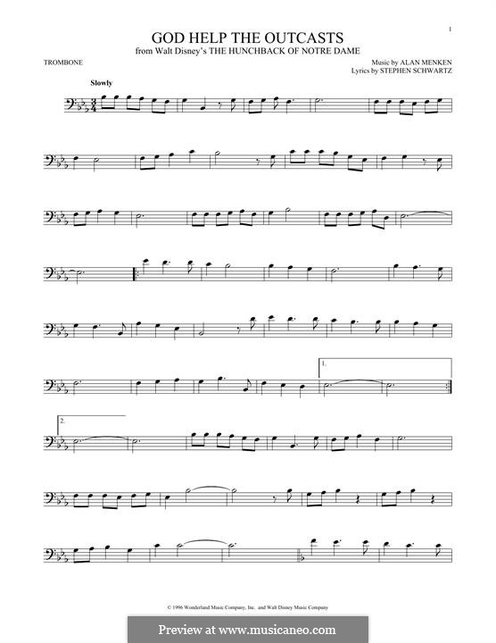 God Help the Outcasts (from The Hunchback of Notre Dame): For trombone by Alan Menken
