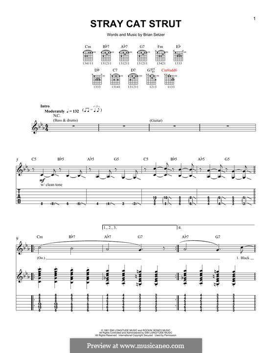 Stray Cat Strut (Stray Cats): Гитарная табулатура by Brian Setzer