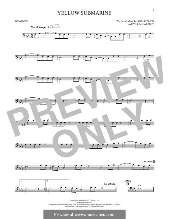 Yellow Submarine (The Beatles): For trombone by John Lennon, Paul McCartney