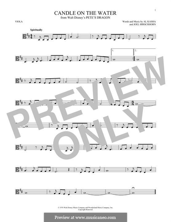 Candle on the Water (from Walt Disney's Pete's Dragon): For viola by Al Kasha, Joel Hirschhorn