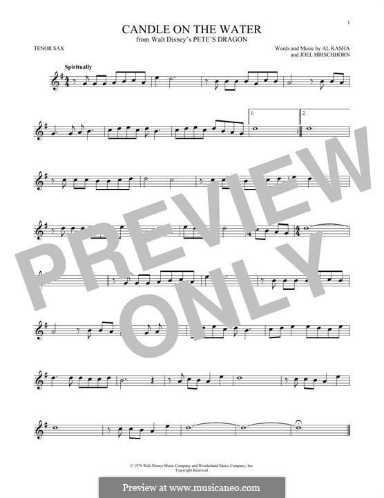 Candle on the Water (from Walt Disney's Pete's Dragon): Для тенорового саксофона by Al Kasha, Joel Hirschhorn