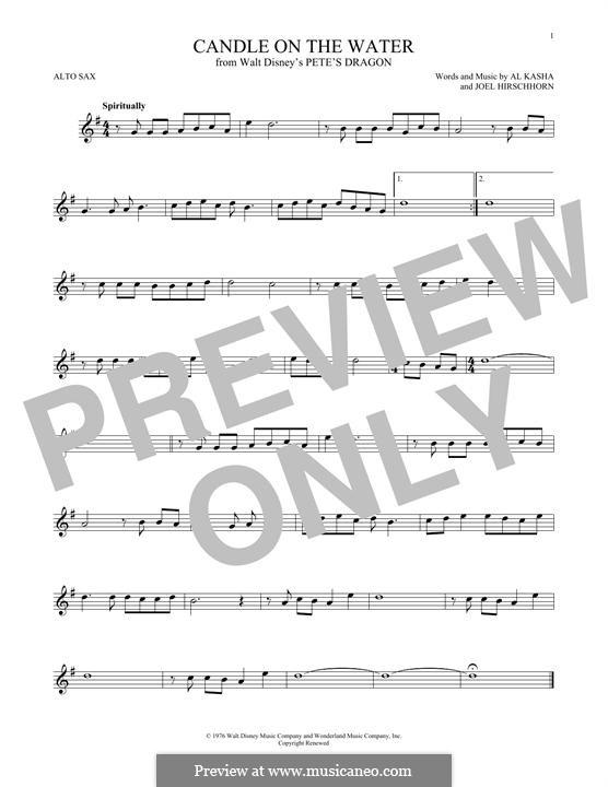 Candle on the Water (from Walt Disney's Pete's Dragon): Для альтового саксофона by Al Kasha, Joel Hirschhorn