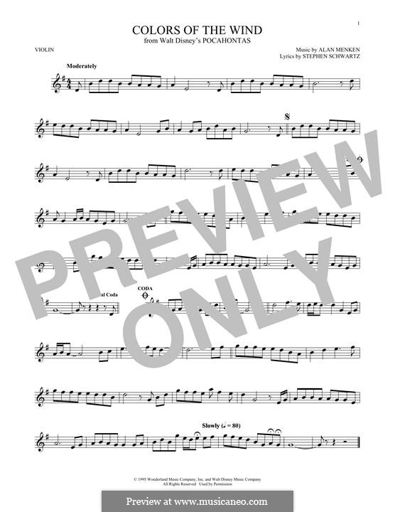 Colors of the Wind: Для скрипки by Alan Menken