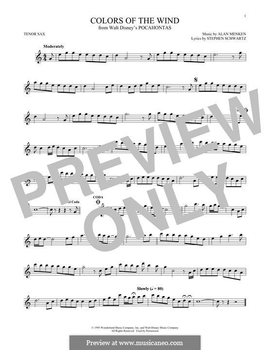 Colors of the Wind: Для тенорового саксофона by Alan Menken