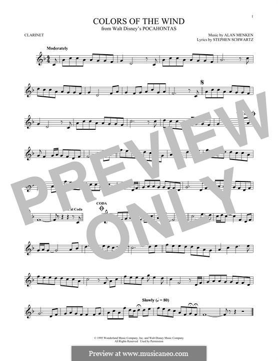 Colors of the Wind: Для кларнета by Alan Menken