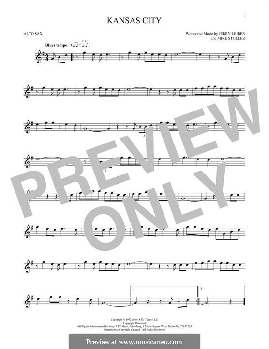 Kansas City: Для альтового саксофона by Jerry Leiber, Mike Stoller