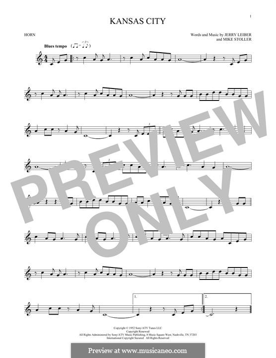 Kansas City: For horn by Jerry Leiber, Mike Stoller