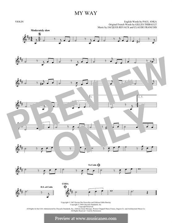 My Way: Для скрипки by Claude Francois, Jacques Revaux