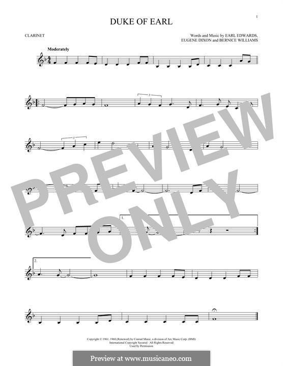 Duke of Earl: Для кларнета by Bernice Williams, Earl Edwards, Eugene Dixon