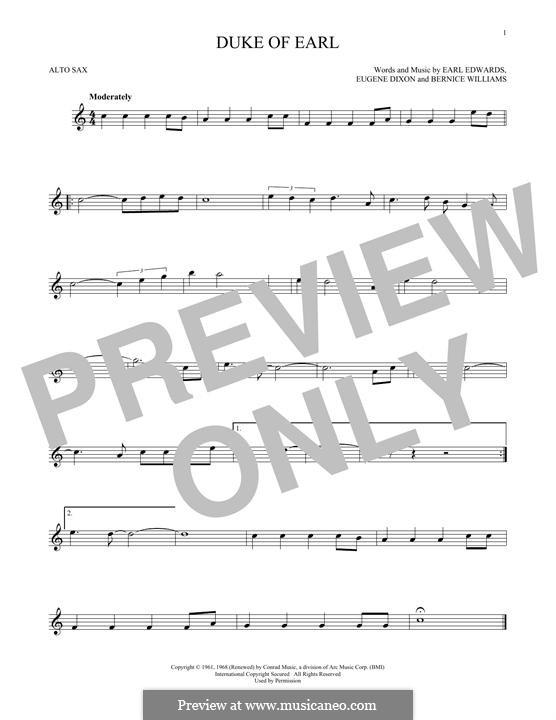 Duke of Earl: Для альтового саксофона by Bernice Williams, Earl Edwards, Eugene Dixon