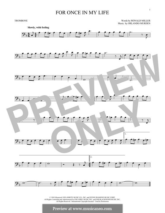 For Once in My Life: For trombone by Orlando Murden, Ronald Miller