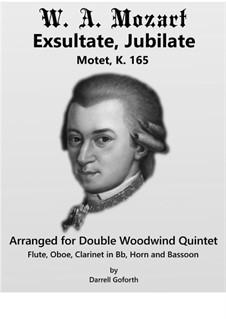 Exsultate, jubilate, K.165: For woodwind quintet by Вольфганг Амадей Моцарт