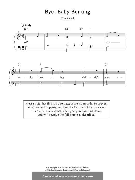 Bye, Baby Bunting: Для голоса и фортепиано by folklore