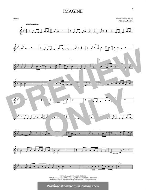 Imagine: For horn by John Lennon