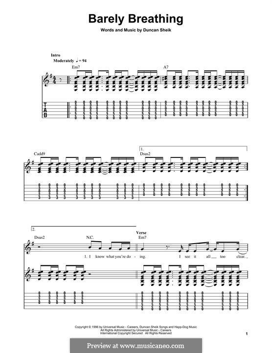 Barely Breathing: Гитарная табулатура by Duncan Sheik