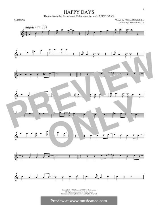 Happy Days: Для альтового саксофона by Charles Fox