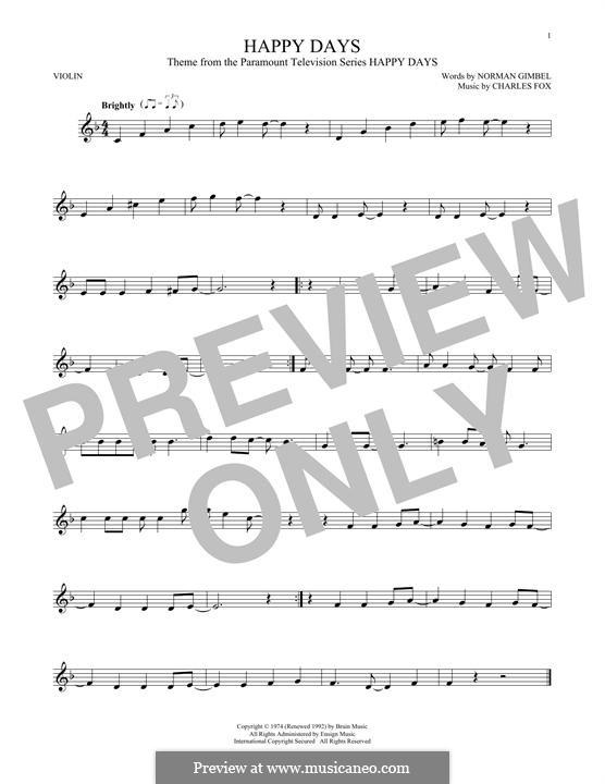 Happy Days: Для скрипки by Charles Fox