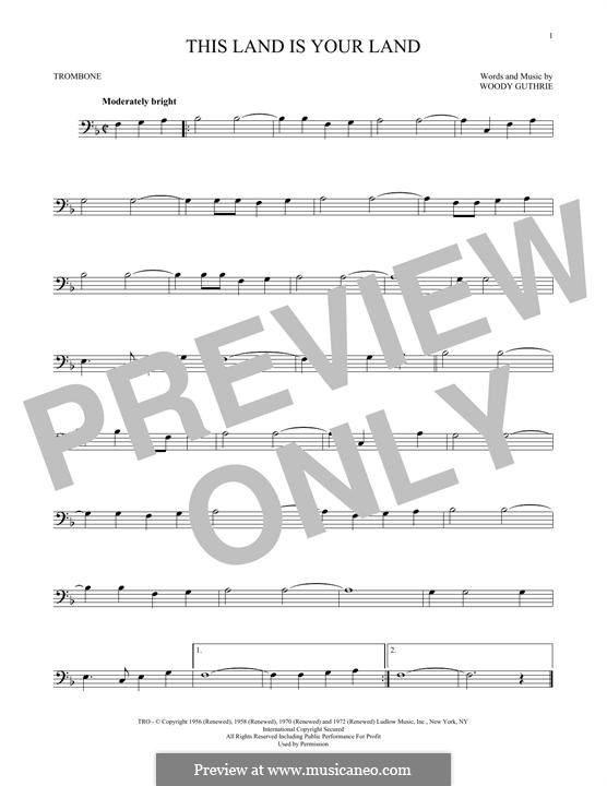 This Land Is Your Land (The New Christy Minstrels): For trombone by Woody Guthrie