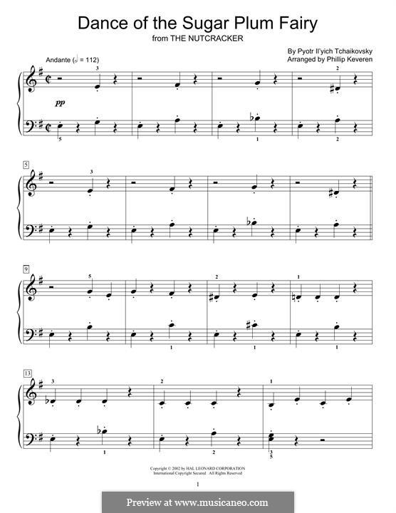 No.3 Танец феи Драже, для фортепиано: For a single performer (by Phillip Keveren) by Петр Чайковский