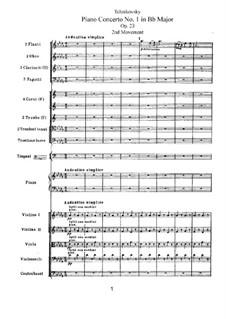 Концерт для фортепиано с оркестром No.1 си-бемоль минор, TH 55 Op.23: Часть II by Петр Чайковский