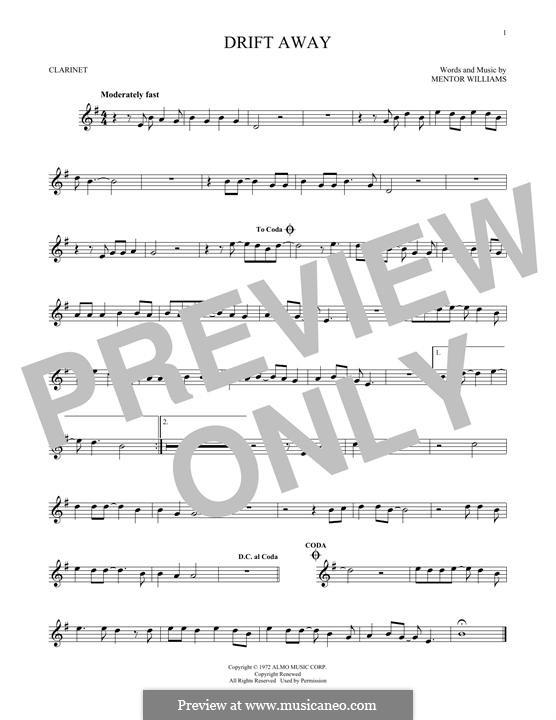 Drift Away (Dobie Gray): Для кларнета by Mentor Williams