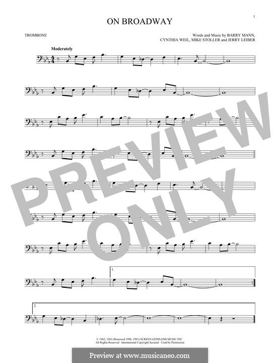 On Broadway (The Drifters): For trombone by Barry Mann, Cynthia Weil, Jerry Leiber, Mike Stoller