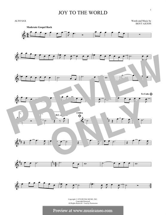 Joy to the World (Three Dog Night): Для альтового саксофона by Hoyt Axton