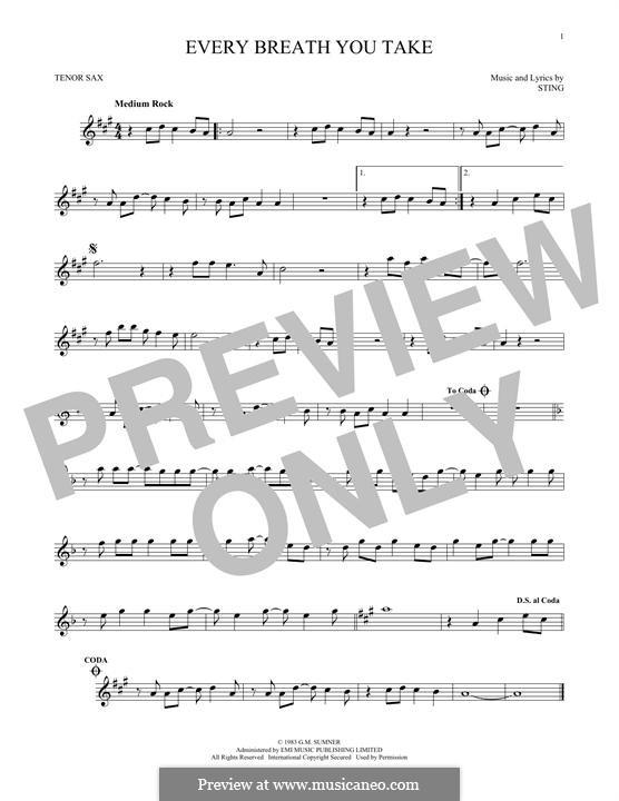 Every Breath You Take (The Police): Для тенорового саксофона by Sting