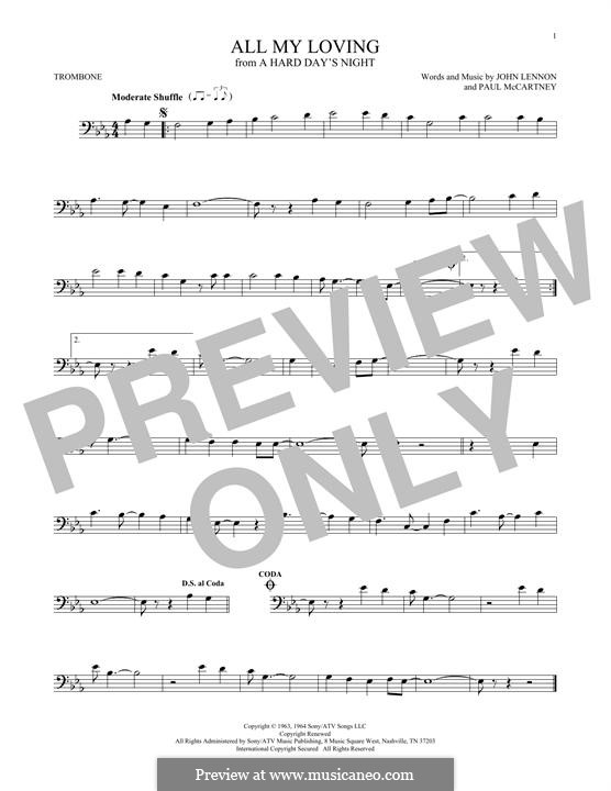 All My Loving (The Beatles): For trombone by John Lennon, Paul McCartney