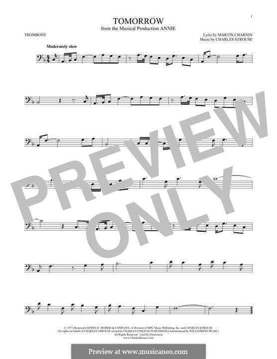 Tomorrow (from Annie): For trombone by Charles Strouse