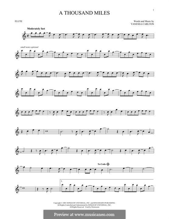 A Thousand Miles: Для флейты by Vanessa Carlton