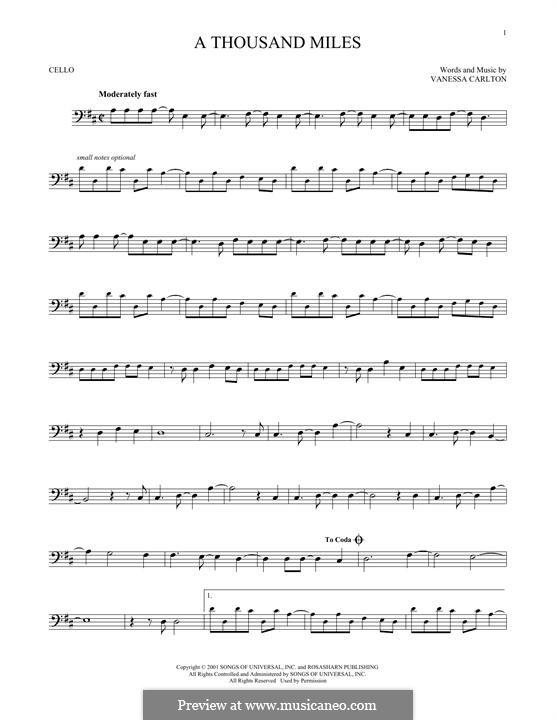 A Thousand Miles: Для виолончели by Vanessa Carlton