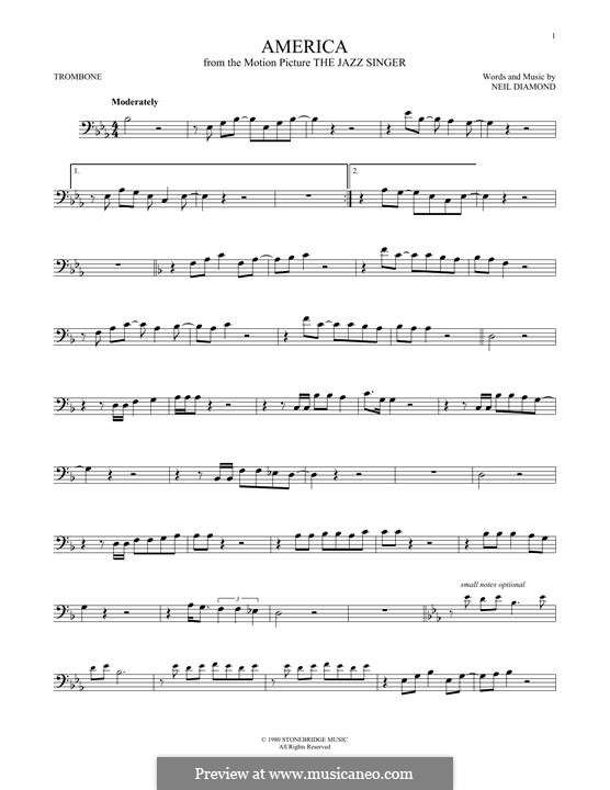America: For trombone by Neil Diamond