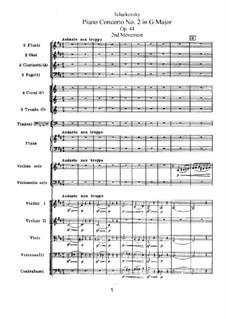 Концерт для фортепиано с оркестром No.2 соль мажор, TH 60 Op.44: Часть II by Петр Чайковский