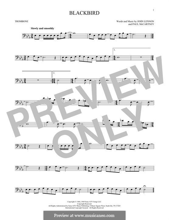 Blackbird (The Beatles): For trombone by John Lennon, Paul McCartney