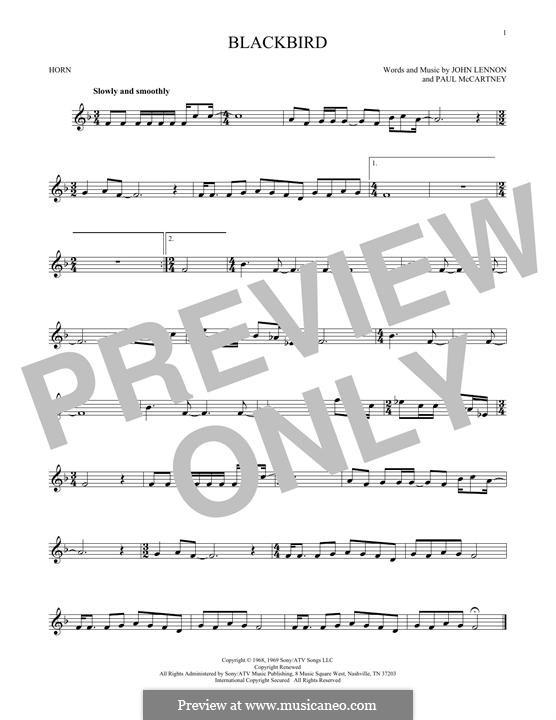 Blackbird (The Beatles): For horn by John Lennon, Paul McCartney