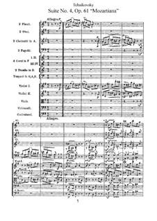 Сюита No.4 соль мажор 'Моцартиана', TH 34 Op.61: Партитура by Петр Чайковский