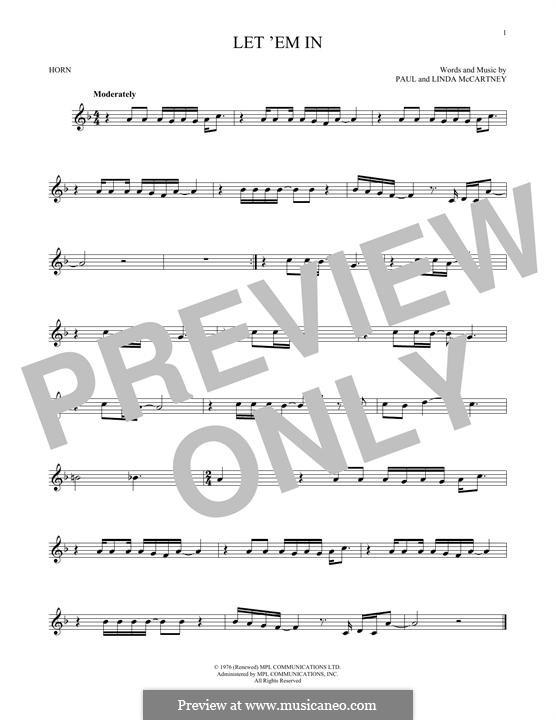 Let 'Em in (Wings): For horn by Linda McCartney, Paul McCartney